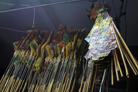 nonphysical: Chinese shadow props hanging, closeup of photo