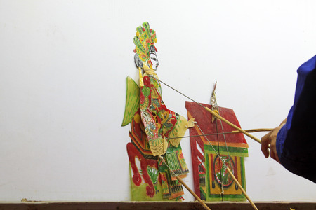 nonphysical: Chinese shadow performances scene, closeup of photo