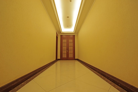 droplight: hotel corridor door, closeup photo Editorial