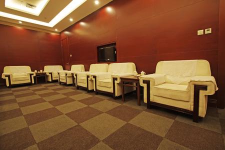 hotel reception room, closeup of photo photo