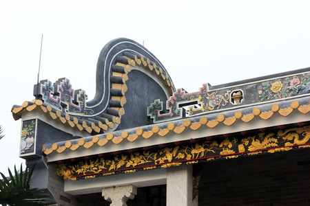 architectural style: Chinese architectural style eaves, closeup of photo