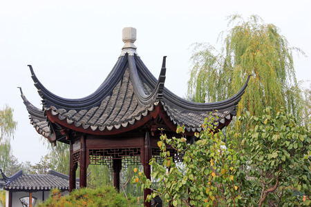architectural style: Chinese architectural style pavilion, closeup of photo Stock Photo
