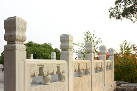 white marble: Chinese style carved white marble railings, closeup photo