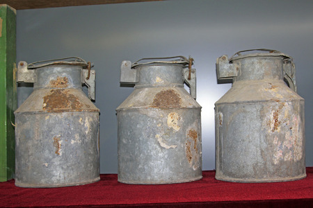 tangshan city: TANGSHAN CITY - NOVEMBER 18: Cement sample iron drum in a museum, on november 18, 2014, Tangshan City, Hebei Province, China