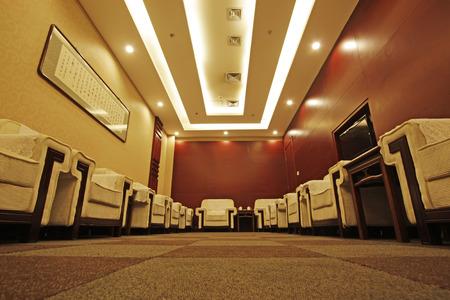 hotel reception room, closeup of photo