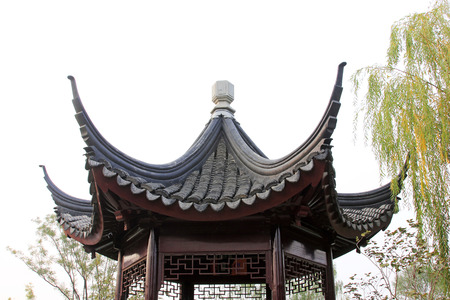 architectural style: Chinese architectural style pavilion, closeup of photo Editorial