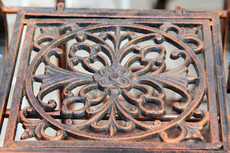 iron works: Copper plating, wrought iron works, closeup of photo Stock Photo