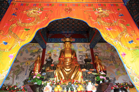 LUAN COUNTY - NOVEMBER 23: Bodhisattva golden body sculpture in Hengshan Dajue Temple, on november 23, 2014, Luan County, Hebei Province, China