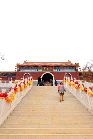 LUAN COUNTY - NOVEMBER 23: Hengshan Dajue Temple monastery landscape architecture, on november 23, 2014, Luan County, Hebei Province, China photo