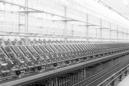 spinning factory: Spinning plant machinery and equipment in a factory