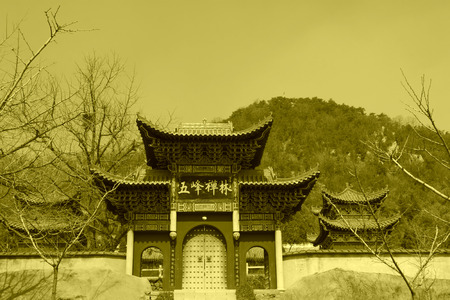 appearance: Zunhua Temple Buddhist temple, March 28: The gate of ChanLin Temple Chinese traditional architectural style on March 28, 2012, Zunhua City, Hebei Province, China. Editorial