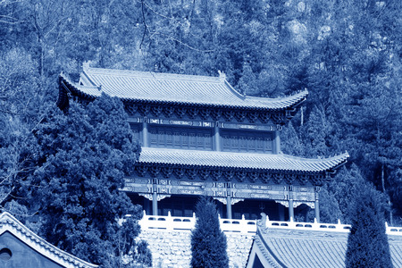 appearance: temple landscape architecture, Chinese traditional architectural style, north china