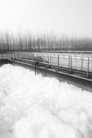 turbidity: Sewage treatment plant closeup in an industrial enterprise, on March 6, 2012, Luannan County, Hebei Province, China Stock Photo