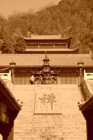 architectural style: temple landscape architecture, Chinese traditional architectural style, north china