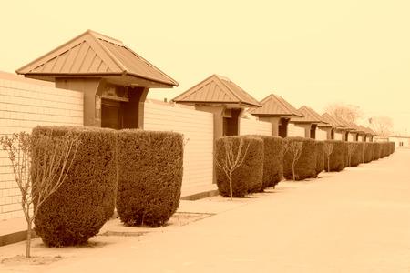 gatehouse: gatehouse and greening tree, street building landscape, north China Stock Photo