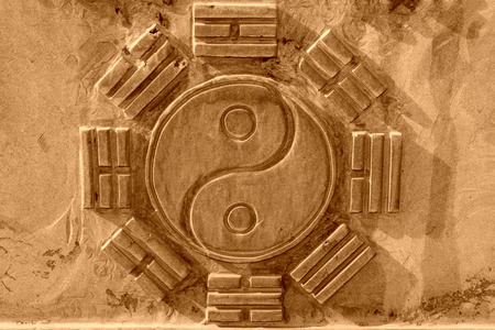 Chinese Eight Trigrams in the gray rock in a temple, north china
