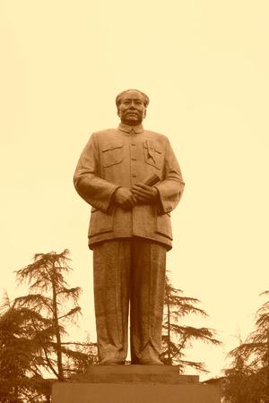mao: ShaoShan, April 12: Bronze statue of Mao Zedong on April 12, 2012, ShaoShan City, Hunan, China Editorial