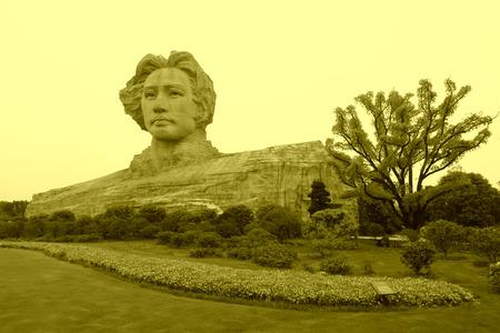 mao: Changsha, April 12: Mao Zedong sculpture in orange Chau Tau on April 12, 2012, Changsha City, Hunan Province, china.