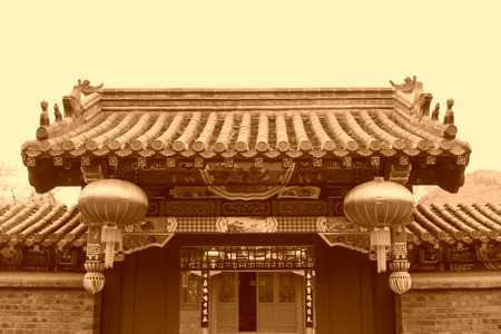 the humanities landscape: Chinese traditional style of temple architecture in Baiyang Valley, Qianan City, Hebei Province, China