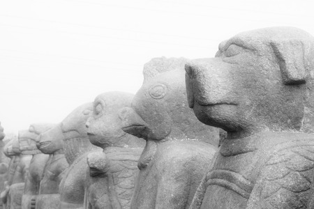 stone carving: stone carving crafts in a park, north china Stock Photo