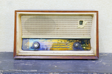 transistor: traditional style transistor radio, closeup of photo