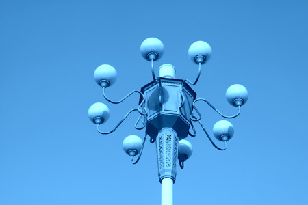street lamps: street lamps in the blue sky background Stock Photo