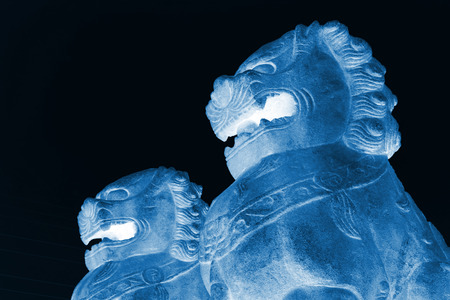 cultural artifacts: Stone lions crafts in a park, north china