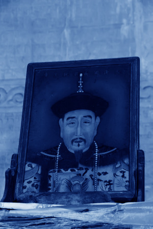 Zunhua, May 13: Qian Long emperor portrait in the Eastern Royal Tombs of the Qing Dynasty on May 13, 2012, Zunhua City, Hebei Province, china. 新闻类图片