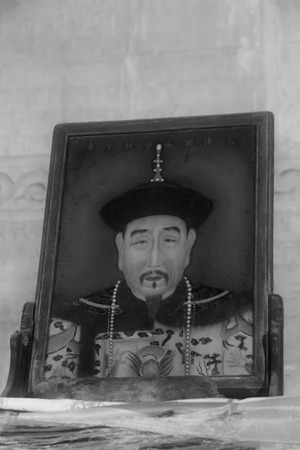 emperor of china: Zunhua, May 13: Qian Long emperor portrait in the Eastern Royal Tombs of the Qing Dynasty on May 13, 2012, Zunhua City, Hebei Province, china. Editorial