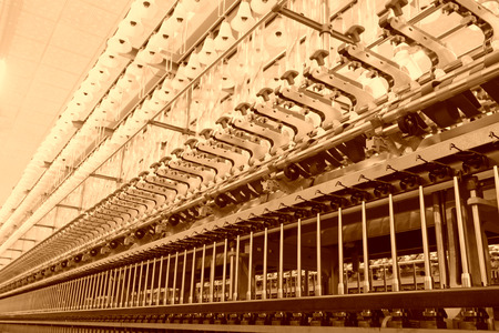 mechanization: Spinning plant machinery and equipment in a factory