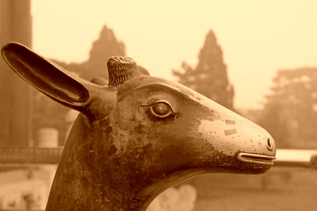 deer  spot: Copper deer sculpture in the Eastern Royal Tombs of the Qing Dynasty on May 13, 2012, Zunhua City, Hebei Province, china. Stock Photo