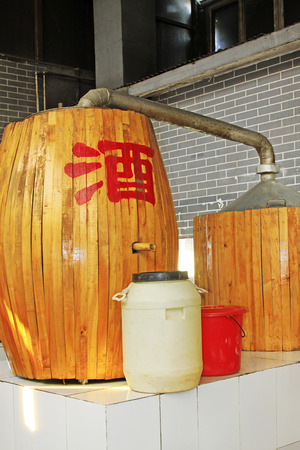 casks: Chinese style wooden casks, closeup of photo Stock Photo