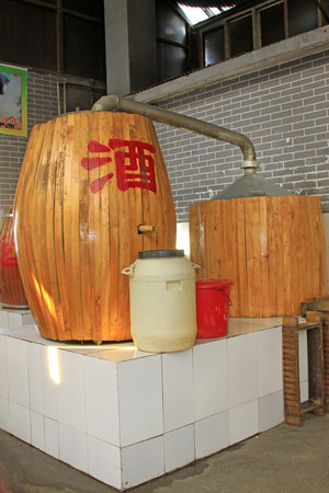 casks: Chinese style wooden casks, closeup of photo Editorial
