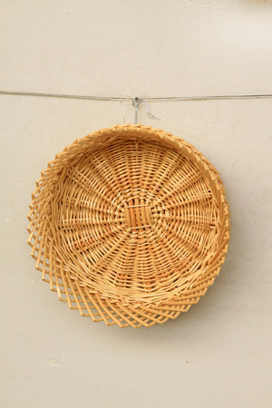 implements: Wicker straw Knitting goods, closeup of photo