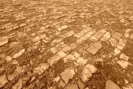 brick paved ground ancient chinese architecture Stock Photo