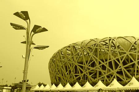 nido de pajaros: Beijing, 09 de junio: Estadio Nacional de Pek�n - arquitectura nido paisaje del ave el 9 de junio de 2012, Beijing, China Editorial