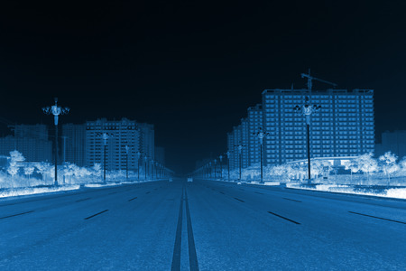 city road: City Road Landscape in the mist, northern china Stock Photo