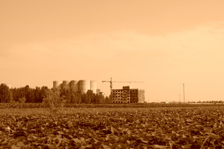 unfinished building: Farmland and unfinished building, China