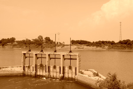 agricultural engineering: closeup of pictures, river lock door north china