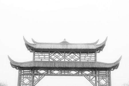 gatehouse: Bamboo gatehouse building landscape in a park, northern china