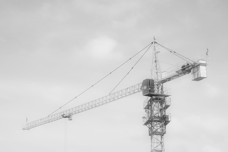 crane tower: crane tower under the blue sky, at a construction site, north china Stock Photo