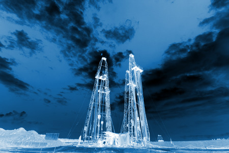 natural gas production: Drilling derrick in MaCheng iron mine on July 12, 2012, Luannan County, Hebei Province, China