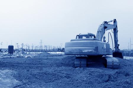 mound: bulldozer finishing in the land, north china Stock Photo