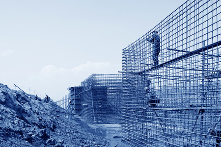 retaining: Sea water retaining engineering construction site, northern china Stock Photo