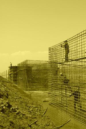 retaining: Sea water retaining engineering construction site, northern china Stock Photo