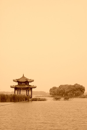 the humanities landscape: Pavilion building landscape in a park, northern china