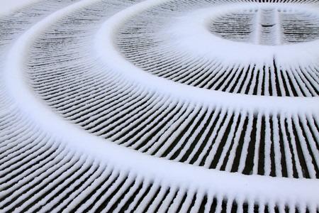 metal shield: Fountain metal shield in the snow