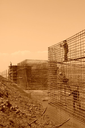 retaining: Sea water retaining engineering construction site, northern china Editorial