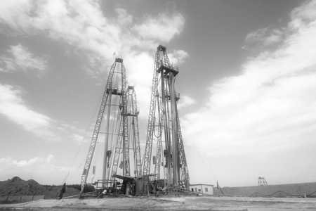 natural gas production: MaCheng July 12: Drilling derrick in MaCheng iron mine on July 12, 2012, Luannan County, Hebei Province, China