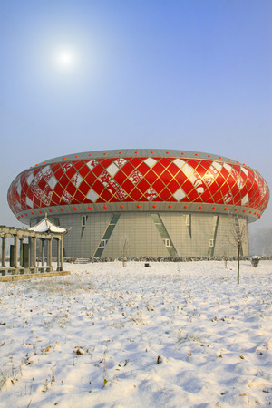 dazzle: LUANNAN COUNTY - DECEMBER 8: Museum architecture in the frost and snow on December 8, 2014, Luannan County, Hebei Province, China